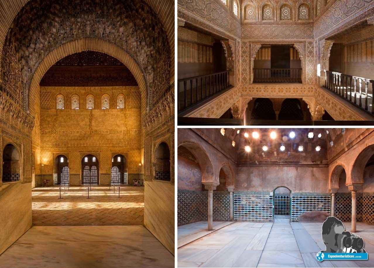 Alhambra de Granada : Sala de Embajadores y Baños de Comares planta alta y baja.