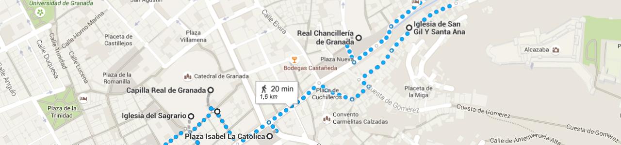 Mapa de la ruta de la catedral de Granada
