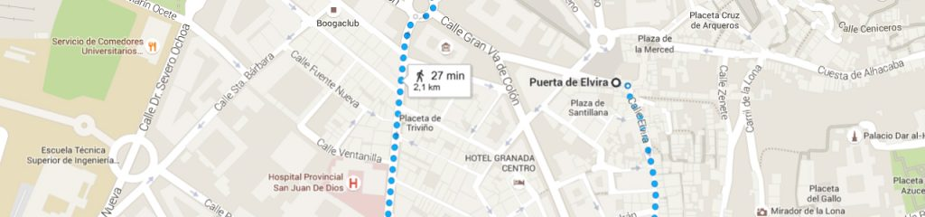 Mapa de ruta por Granada cruzando Puerta Elvira.