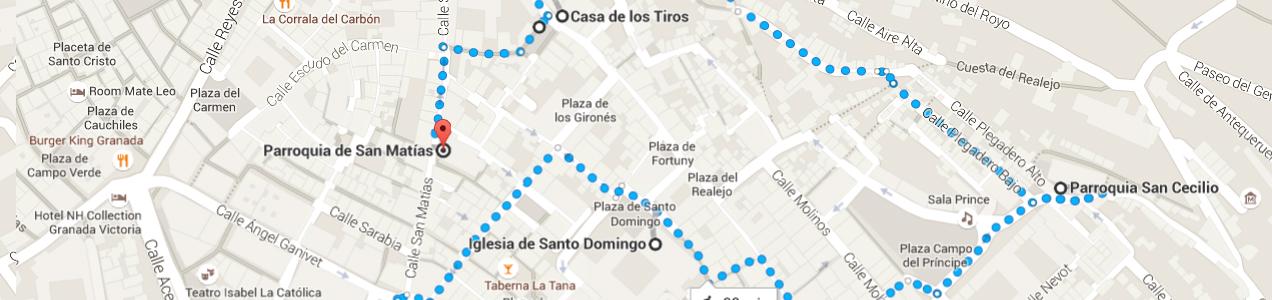 Mapa de la ruta por el realejo de Granada