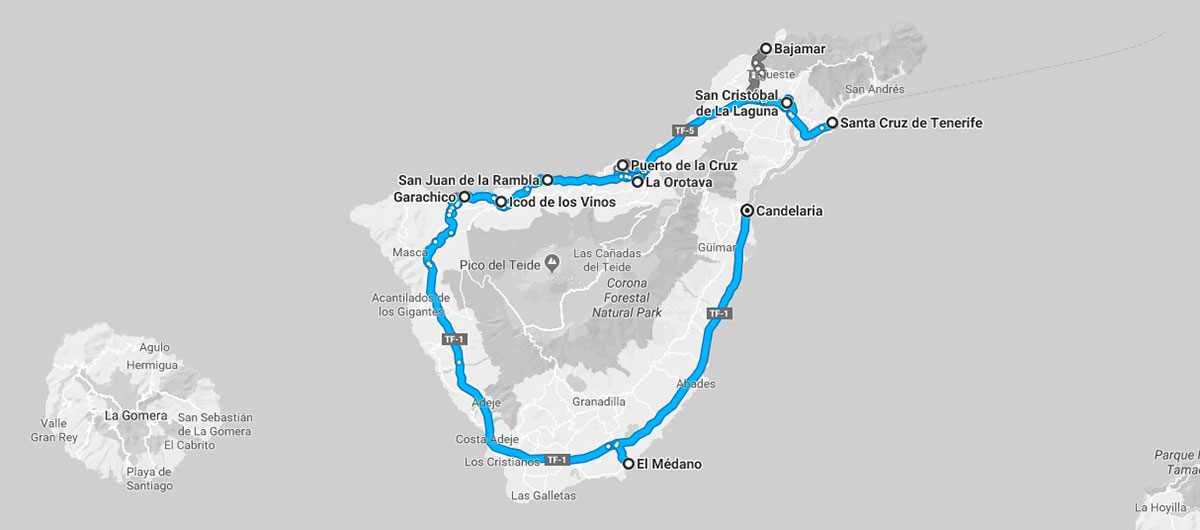 Ruta en coche por Tenerife de 215 km.