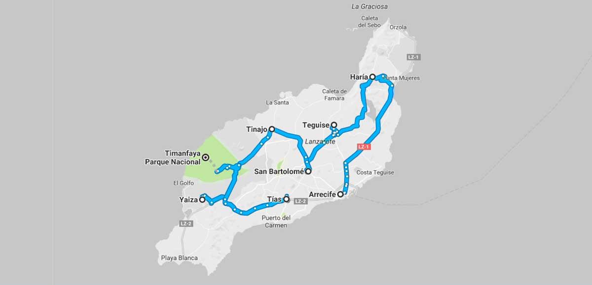 Mapa de la ruta: Que ver en Lanzarote.