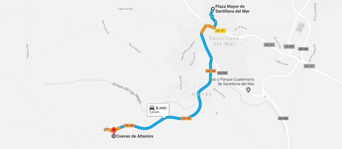 Plano del recorrido desde la Plza Mayor de Santillana del Mar a las Cuevas de Altamira