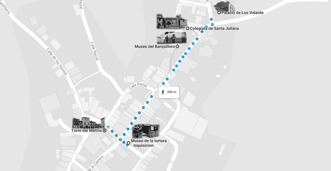 Mapa de la ruta por Santillana del Mar