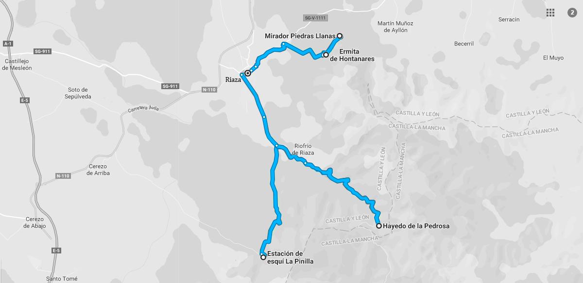 """""""Mapa de situación de las visitar a realizar por los alrededores del pueblo de Riaza."""""""