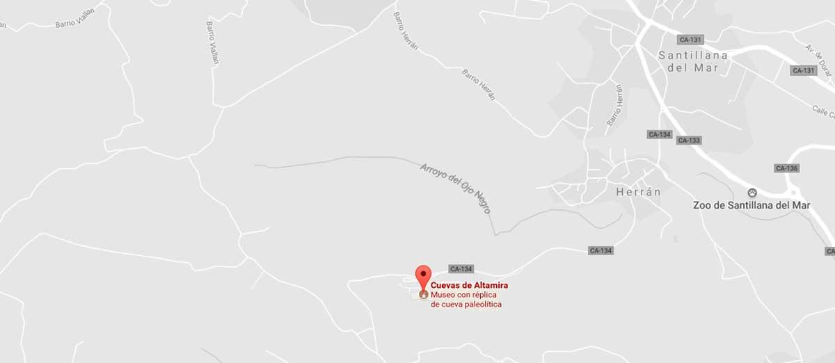 Mapa situación Cuevas de Altamira.