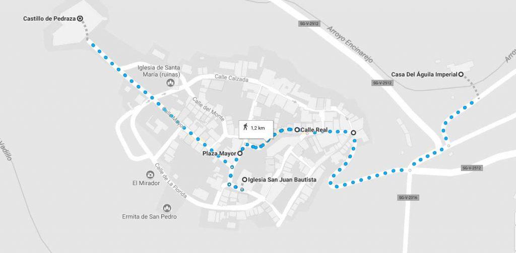 Mapa de la ruta a realizar por Pedraza