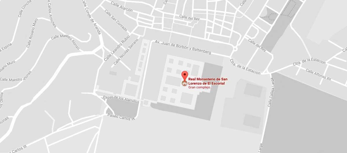 Mapa de situación del Real Monasterio de San Lorenzo del Escorial.