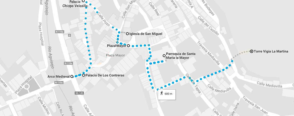 Plano de la ruta a realizar de la villa de Ayllón