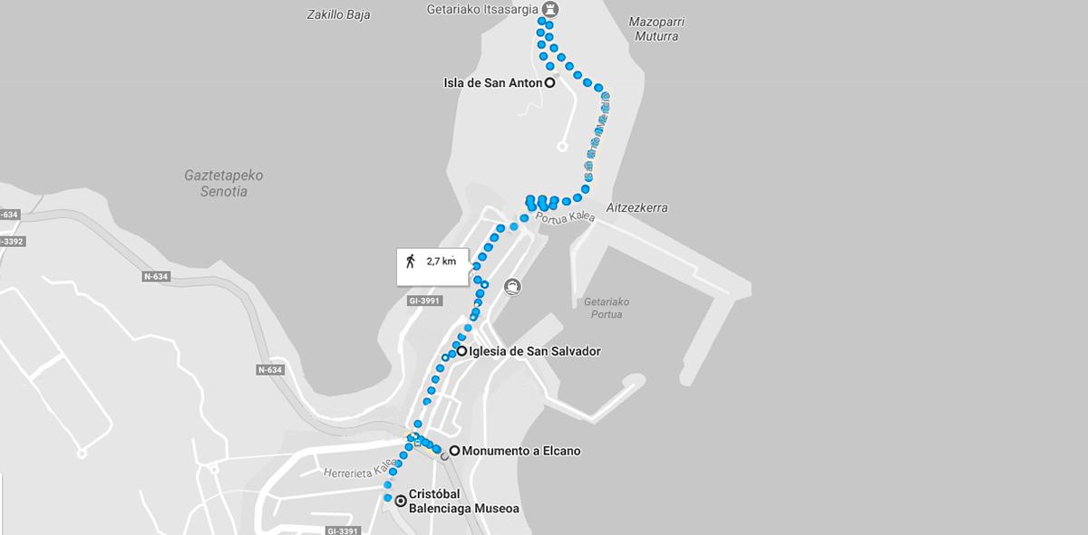 mapa de la ruta que ver en Getaria