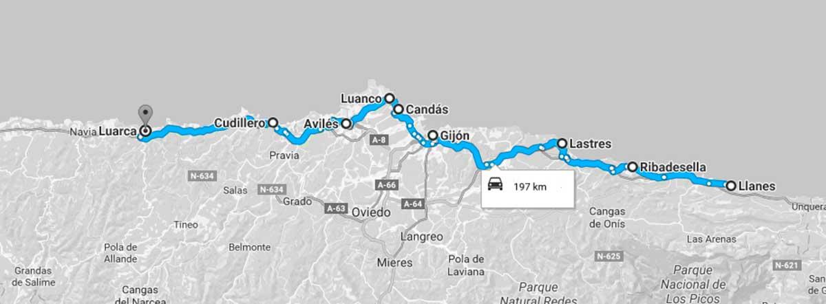 Mapa de la Ruta de los mejores pueblos costeros de Asturias.