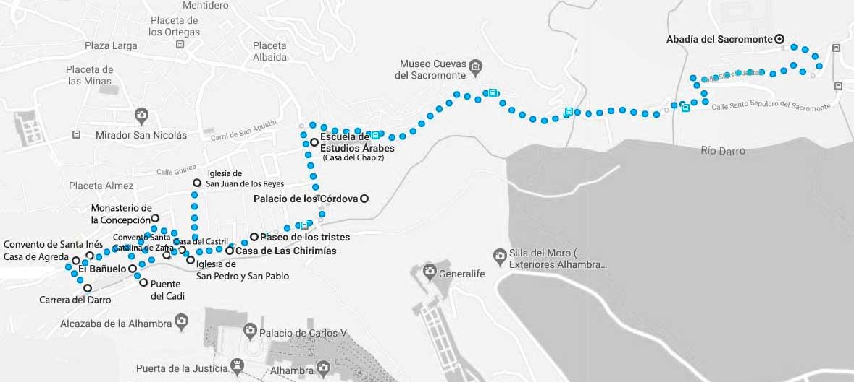 Ruta a pie por el Albaicin Bajo (Granada) de 1,7 km