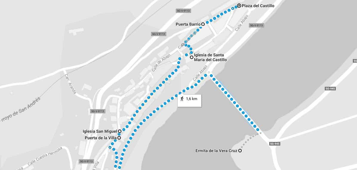 Mapa del recorrido a realizar por Maderuelo