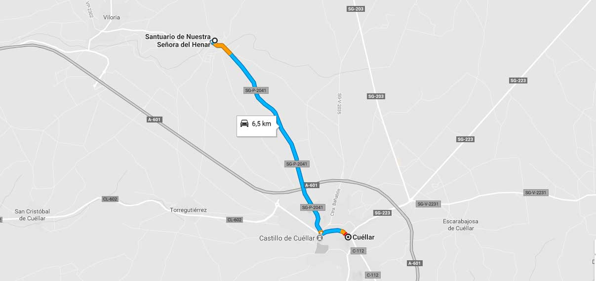 Que ver en Cuéllar: plano de recorrido de cuéllar a santuario de Henar.