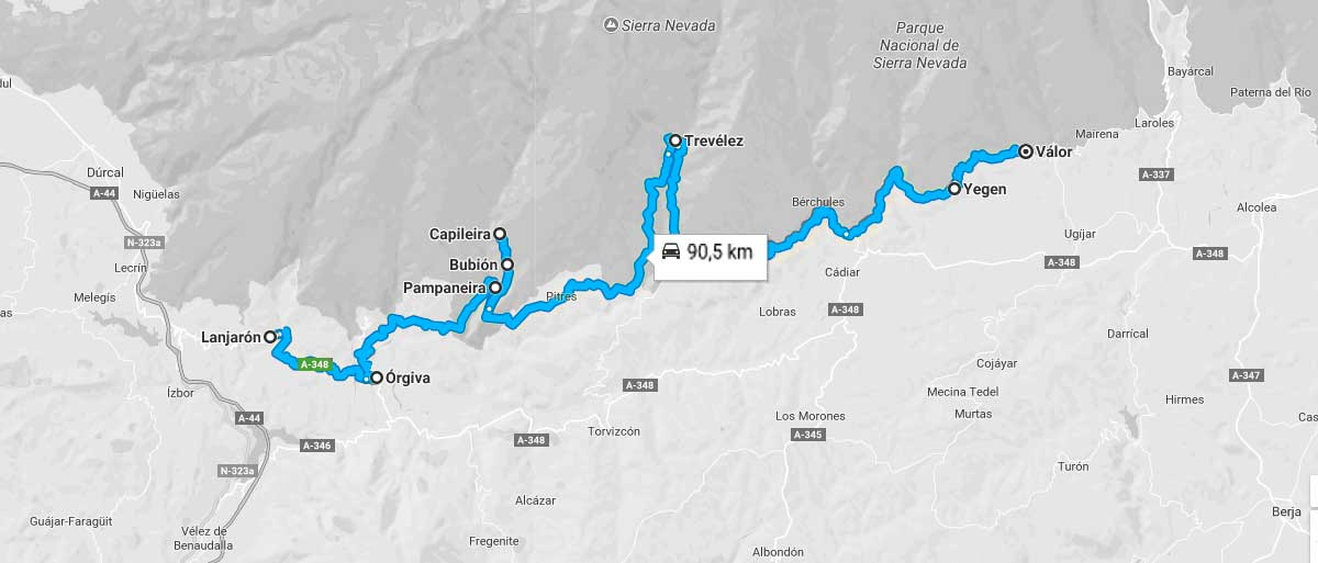 Mapa de la ruta a realizar por la Alpujarra Granadina