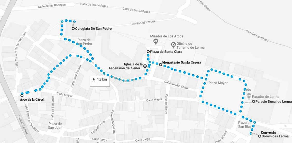 """""""Plano del recorrido a realizar por Lerma."""""""