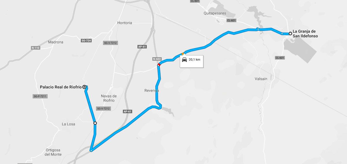 Como llegar a Palacio de Riofrío