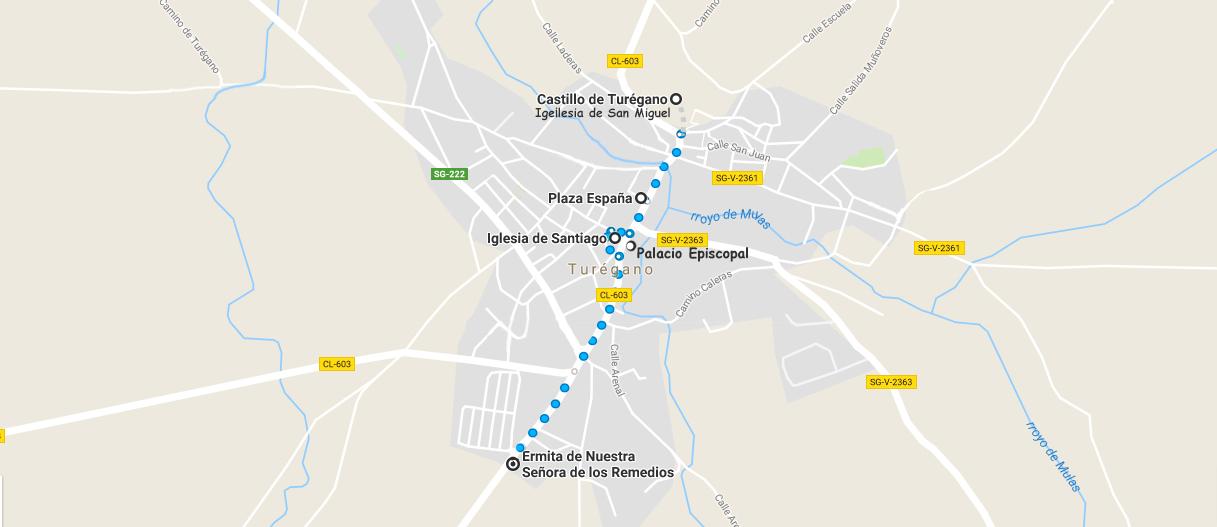 mapa de la ruta a realizar por la villa de turegano
