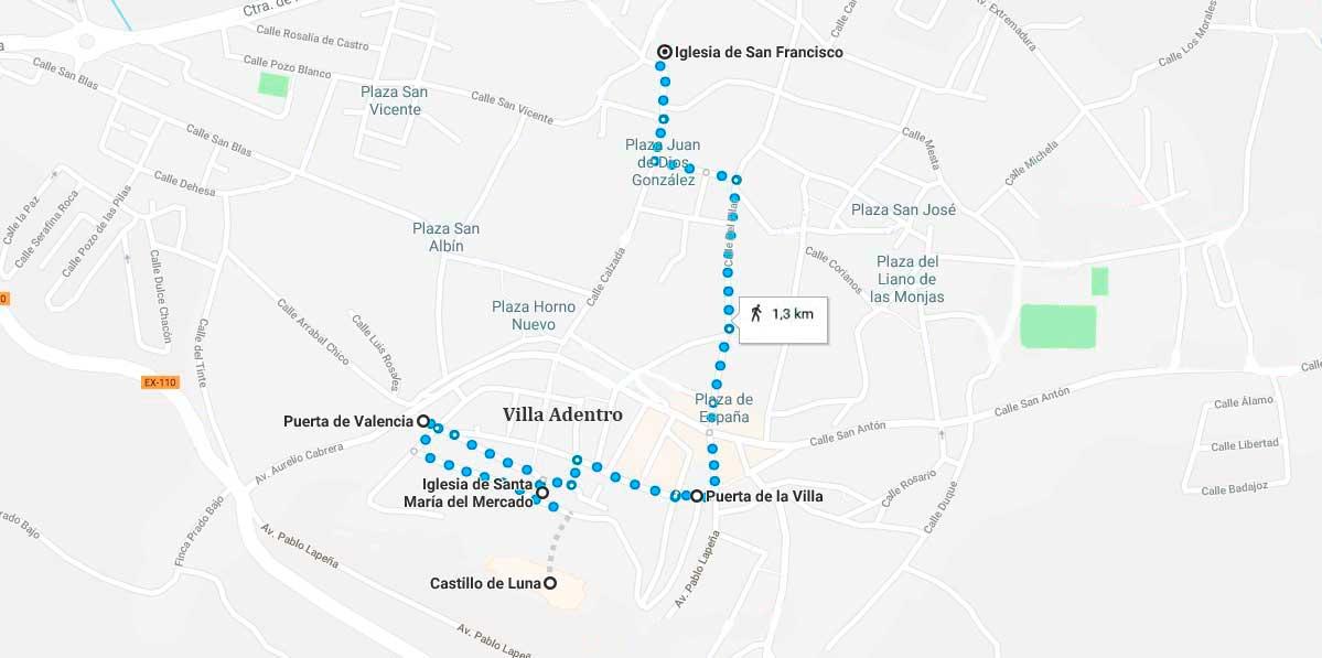 Mapa de la ruta a realizar por Alburquerque