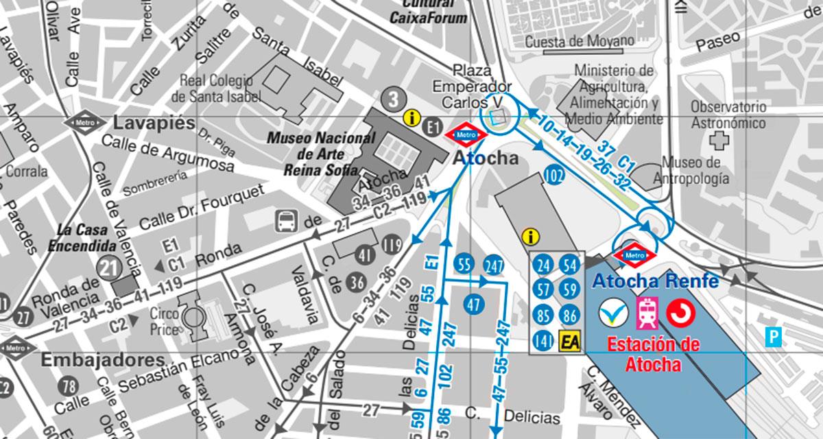 paradas de autobuses alrededor de la estación de Atocha.