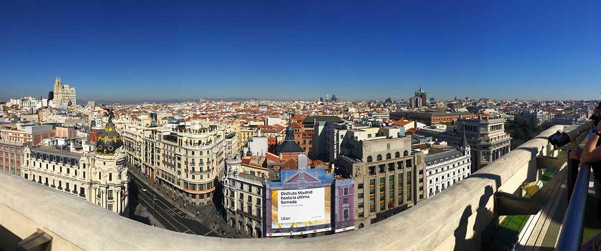 Vista panorámica de Madrid desde la azotea Círculo de Bellas Artes