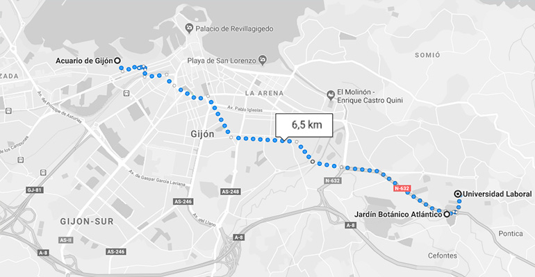 Recorrido para llegar al jardín Botánico Y Universidad Laboral de Gijón