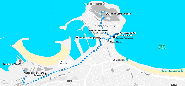 Mapa de la ruta a realizar por Gijón