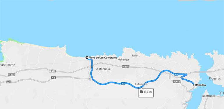 """"""" Recorrido en coche de Ribadeo a la playa de las Catedrales """""""