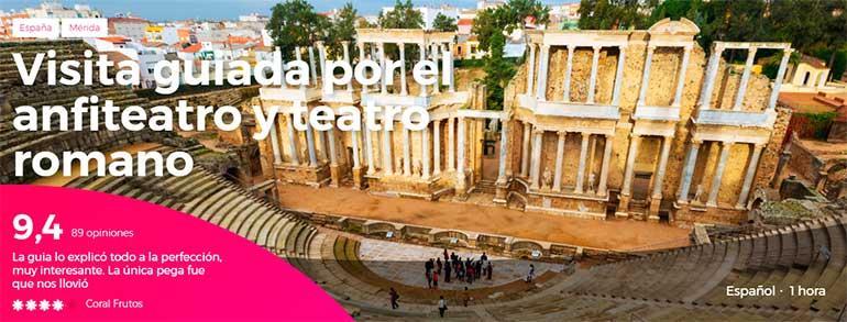 visita guiada por el anfiteatro y teatro romano de Mérida