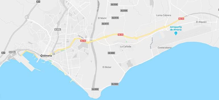 mapa situación aeropuerto de Almería