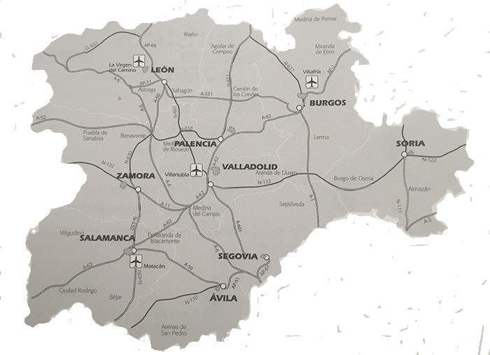 Mapa accesos de Castilla y León.