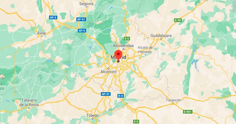 Mapa de situación de Madrid (España)