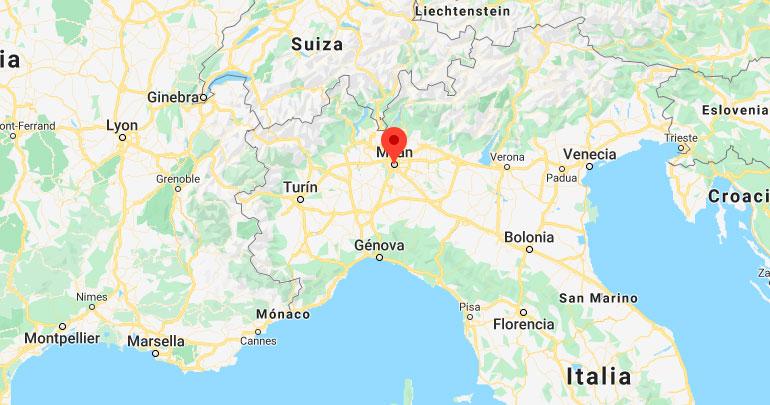 Mapa de situación de Milán