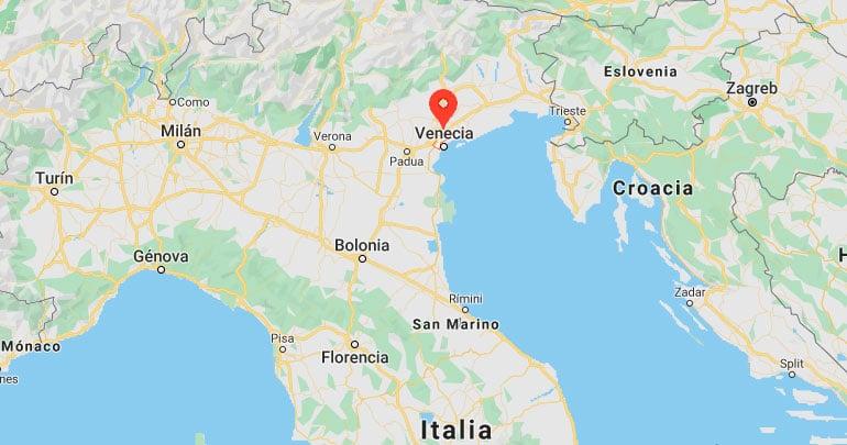 Mapa de situación de Venecia