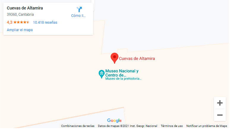 Mapa de situación de la Cueva de Altamira (Cantabria)