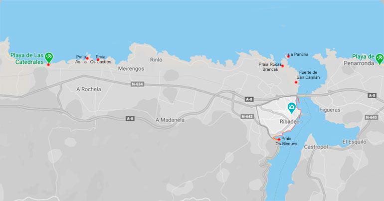 Mapa de las visitas a realizar en Ribadeo y sus alrededores