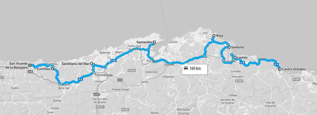 Mapa de la ruta pueblos costeros de Cantabria