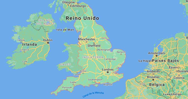 Mapa de situación de Inglaterra