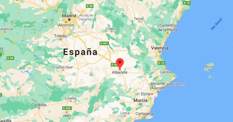 Mapa de situación de Albacete (España)