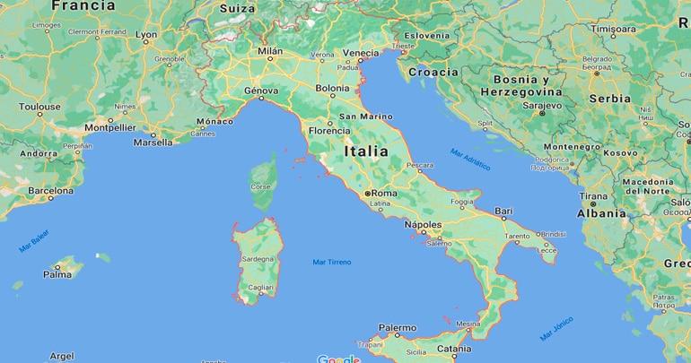 Plano de situación de Italia