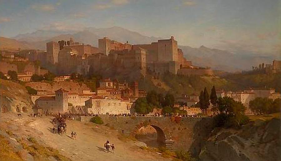 Cuadro antiguo de la Alhambra de Granada