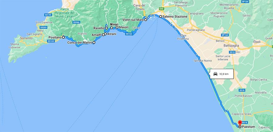 Recorrido en coche por la costa Amalfitana de Italia